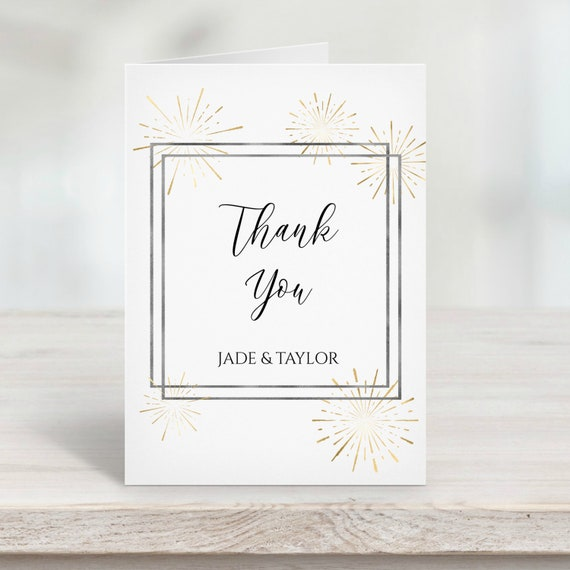 Gold and Silver Thank You Card, Wedding Thank You Printable, Elegant Calligraphy, Sunburst Fireworks Editable Template, Corjl PPW-NY21
