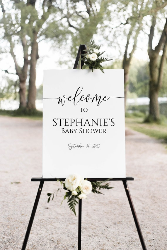 Baby Shower Sign Template, Welcome Sign, Shower Printable, Large Easel Sign, Editable Sign, Corjl PPW0550 Grace