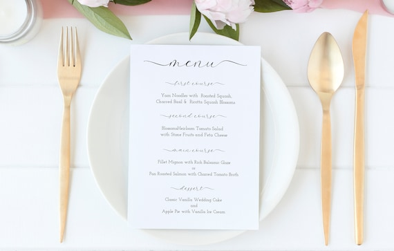 Wedding Dinner Menu Printable, Elegant Minimalist Menu Template,  100% Editable, Templett PPW0235