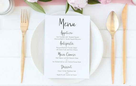 Wedding Event Menu Template, Editable Menu Card, Modern Font Printable 100% Editable Template, Templett PPW0580