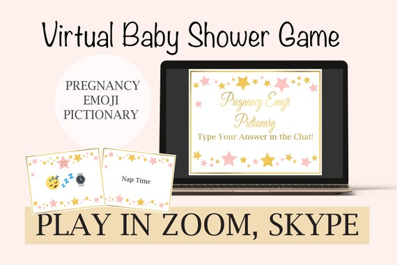 Virtual Baby Shower Game Pregnancy Emoji Pictionary, Gold and Pink Baby Shower, Baby Girl, Star Theme, Zoom Game 31GldPStar