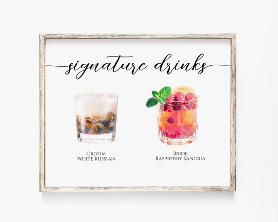 Signature Drink Menu, Bride and Groom Cocktails, Watercolor Cocktail Sign, Elegant Calligraphy, Editable Card Template, Corjl PPW16 MAE