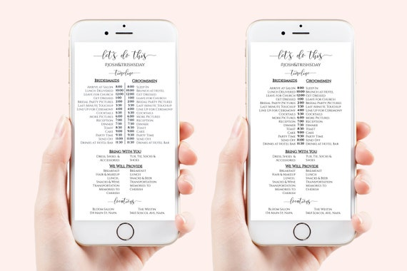 Wedding Party Timeline, Electronic Itinerary, Evite, Digital, Text Timeline, Editable Text, 100% Editable Template, Corjl PPW0550 Grace