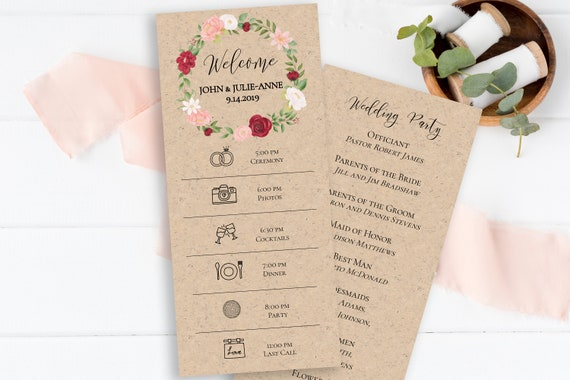 Wedding Day Timeline & Program, Floral Wreath Design, Pink Red Flower, Instant Download 100% Editable, Templett PPW0230