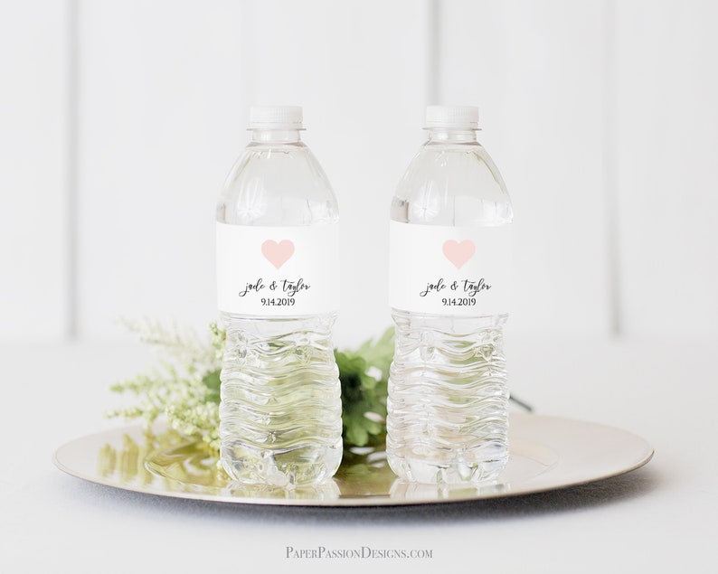 Modern Water Bottle Label Template Elegant Heart Calligraphy image 0