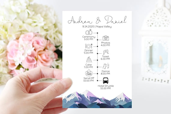 Wedding Program & Timeline Template, Wedding Day Plan, Schedule of Events, Winter Mountain Range, Printable Template, Corjl ANDES PPW420
