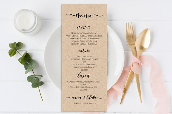 Wedding Menu Card, Event Seating, Elegant Calligraphy, Table Decor 100% Editable Template, Templett PPW0575