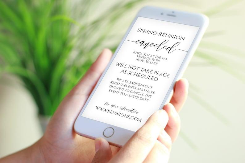 Canceled Event Announcement Digital Text Message Template image 0