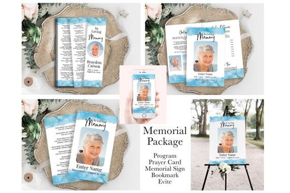 Blue Watercolor Memorial Package Welcome Sign, Program, Prayer Card, Bookmark, Evite, Editable Corjl Template PPF600B