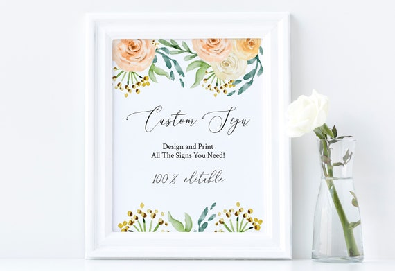 Blush Floral Custom Wedding Table Sign, Editable Wedding Template, Guest Book, Favors, Instant Download 100% Editable, Templett  PPW0225