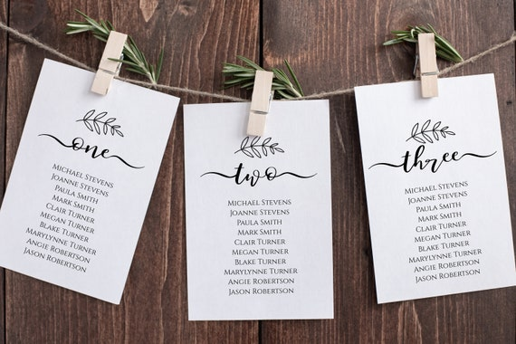 Wedding Table Seating Cards, Seating Chart, Elegant Calligraphy, Seating Chart Display 100% Editable Template, Templett PPW0575