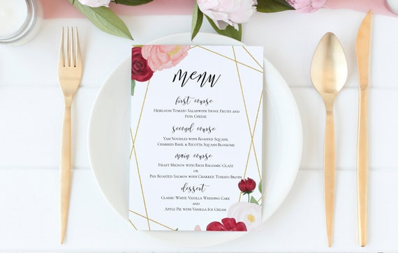 Menu Template, Pink & Red Floral Watercolor, Wedding Menu Card Printable, 100% Editable, Templett PPB0230