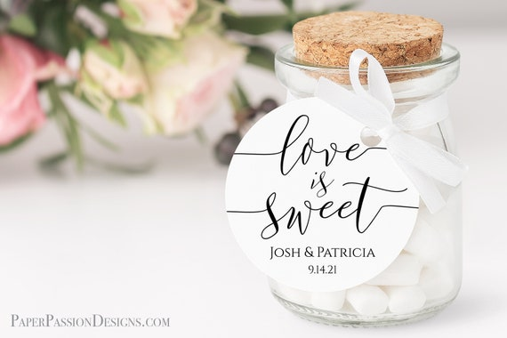 Round Modern Elegant Calligraphy Love is Sweet Wedding Favor Tag and Label 100% Editable Templett PPW0550