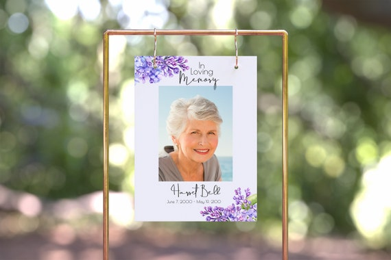 Lilac Floral Memorial Sign, Purple Memorial Easel Display, Violet Celebration of Life, Funeral Welcome, Editable Template PPF2021LPB SHAE