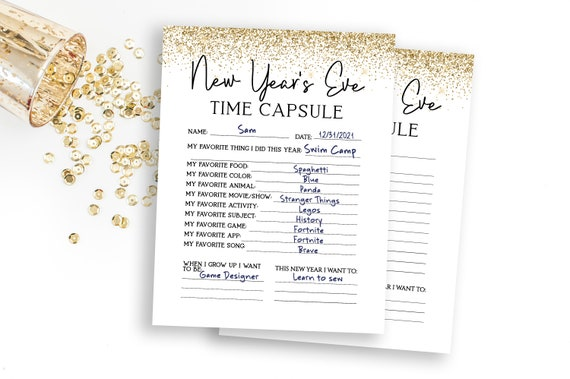 Glitter New Year's Eve Time Capsule Printable Worksheet, Kids New Year Sheet,  New Year Party Activity NOEL-N3 PPC-19