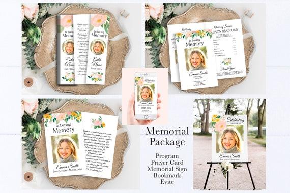 Pink Floral Memorial Package Welcome Sign, Program, Prayer Card, Bookmark, Celebration of Life, Editable Corjl Template PPF232
