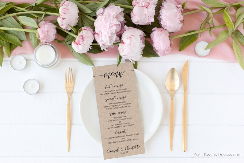 Modern Script Wedding Menu Template Elegant Font Menu Card image 0