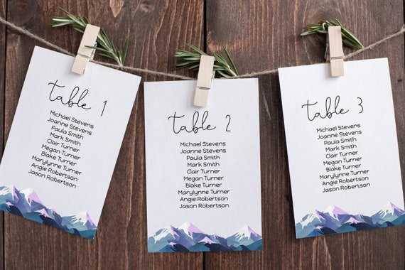 Wedding Table Seating Cards Template, Seating Chart, Find Your Seat Display, Winter Mountain Range, Printable Template, Corjl ANDES PPW420