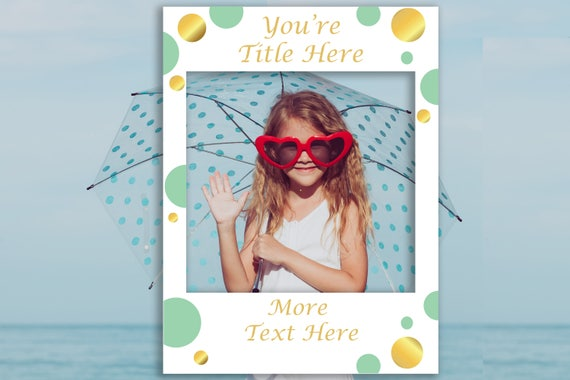 Photo Prop Editable Frame, Mint and Gold Photo Booth Prop, Baby Shower Editable Template, Instant Download PDF  MintGld20