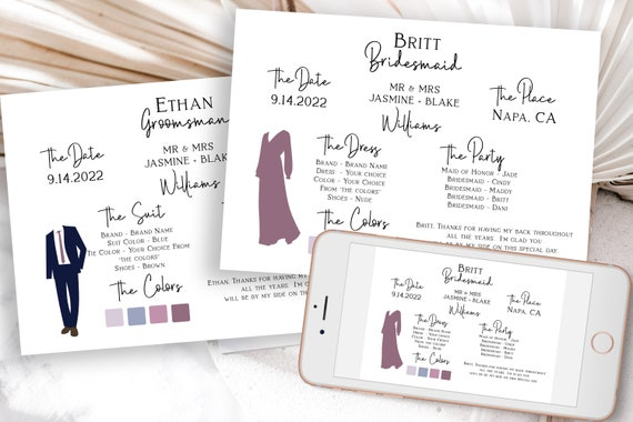 Bridesmaids Groomsman Information Card Set, Printable Bridesmaid Details, Letter to Bridesmaid, Wedding Party Detail Cards Editable PPW508