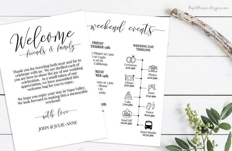 Wedding Welcome Card Printable Out of Town Timeline Wedding image 0