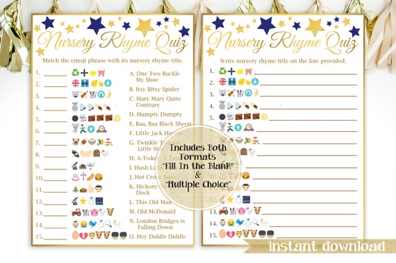 Emoji Nursery Rhyme Quiz ~ Navy Blue and Gold Baby Shower ~ Baby Boy Star ~ Printable Game 31GldNStar