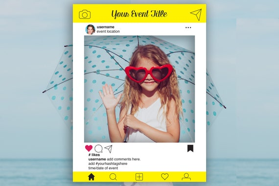 Instagram Editable Photo Prop Frame, Yellow Photo Booth Prop, Weddings,Birthday, Baby or Bridal Shower, Template, Instant Download PDF