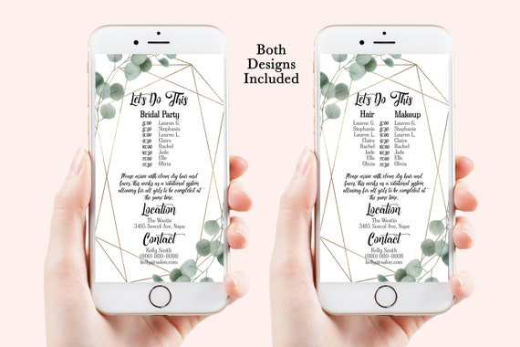 Greenery Wedding Party Hair & Makeup Timeline, Electronic Itinerary, Evite, Digital, Text Message, Editable, Corjl SAGE-N2