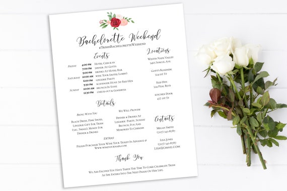 Bachelorette Party Itinerary Timeline, Floral Design, Pink Red Flower, Weekend Details, Instant Download 100% Editable, Templett PPW0230