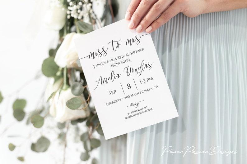 Miss to Mrs Invitation Bridal Shower Printable Heart Elegant image 0