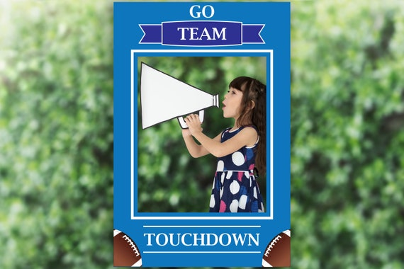 Editable Blue Football Photo Prop Frame, Blue Photo Booth Prop, Sports ,Birthday, Template, Instant Download PDF
