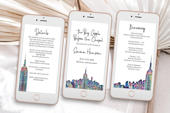 Big Apple Bachelorette Party, Pink Electronic Invitation Template, NYC Evite, Hen Party, Bridal Shower, Details, Itinerary PPW42 PARK