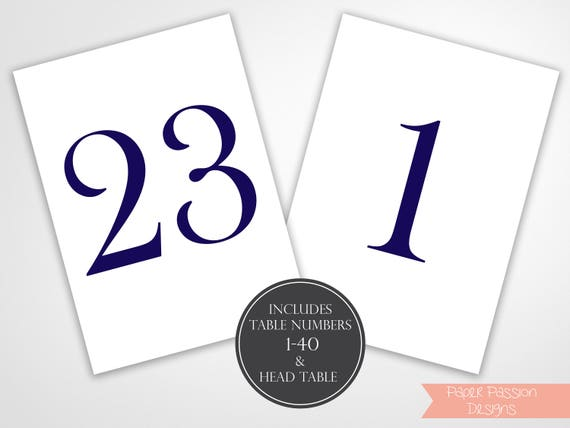 Navy Table Numbers, Simple ModernWedding Table Numbers Printable, Classic Wedding, Table Number Cards, Instant Download PDF