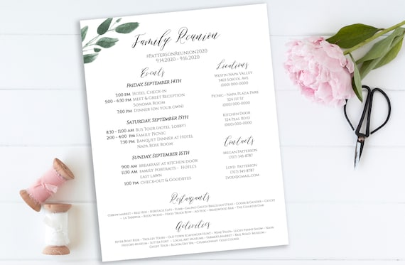 Event Itinerary & Details, Greenery Family Reunion Weekend Printable, Work Event Plan, Team Building Schedule, 100% Editable  PPW0450