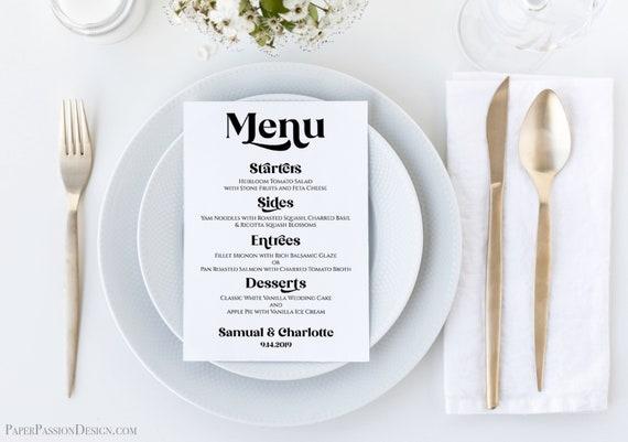 Wedding Menu Card Template, Wedding Table Decor, Event Decoration Modern Retro Agenda, Personalize Editable PPW74