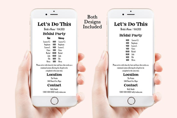 Wedding Party Hair & Makeup Timeline, Electronic Itinerary, Evite, Digital, Text Message, 100% Editable, Corjl PPWCal