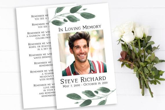 Greenery Memorial Prayer Card, Celebration of Life, In Loving Memory Funeral Card, Editable Corjl Template PPF450