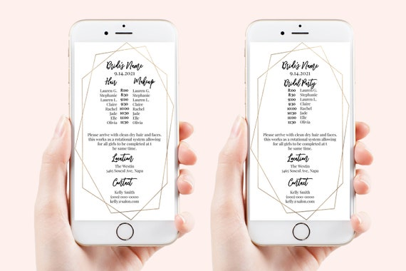 Wedding Party Hair & Makeup Timeline, Electronic Itinerary, Evite, Digital, Text Message, 100% Editable, Corjl SPENCER-N1G