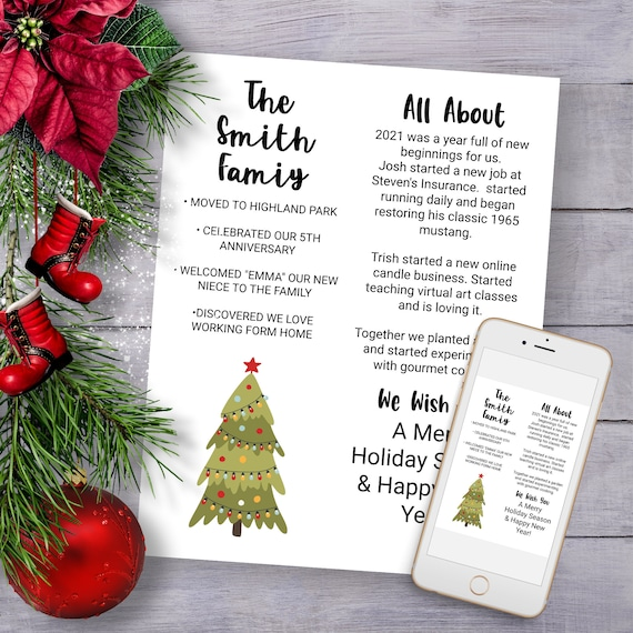 Christmas Letter Template, Year in Review, Christmas Tree Holiday Newsletter, Family Update Editable PPC-19