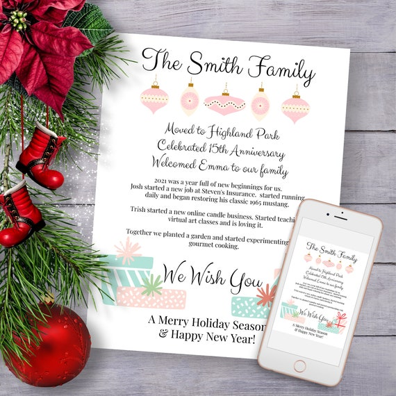Christmas Letter Template, Year in Review, Pink Blue Holiday Newsletter, Family Update Editable PPC-19