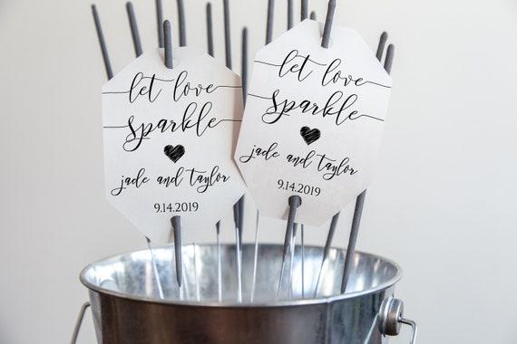 Modern Elegant Calligraphy Newlywed Send Off Sparkler Tag and Label, Wedding Let Love Sparkle Card 100% Editable  PPW0550 GRACE