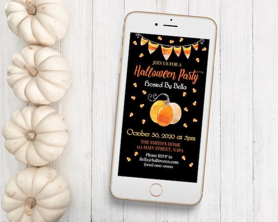Halloween Evite, Candy Corn Electronic Invitation Digital, Text Invite, Pumpkin Editable Template SPOOKTACULOUS-C1e