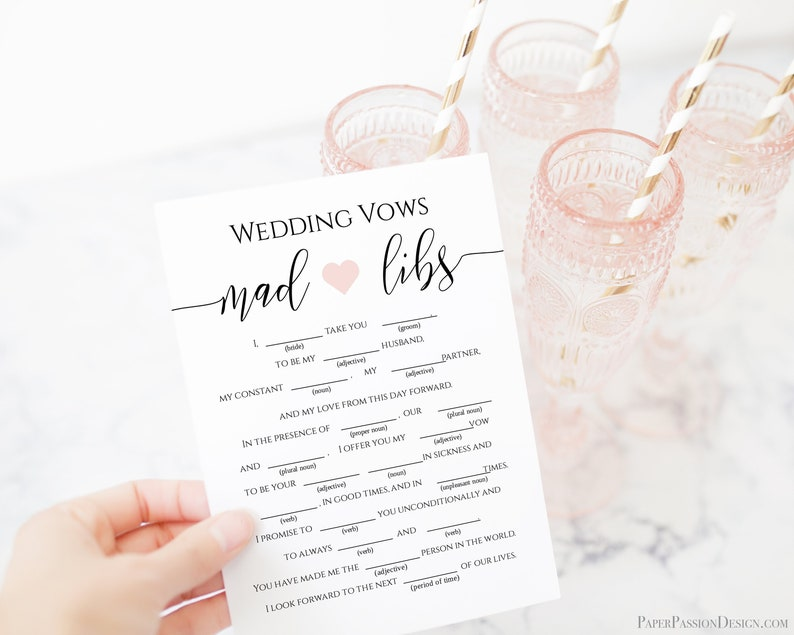 Wedding Vows Mad Libs Template Bridal Shower Game Rustic image 0