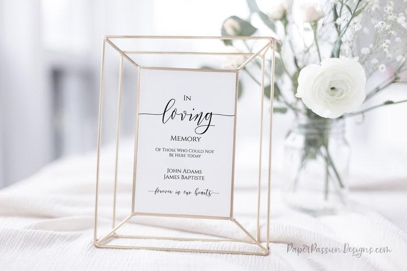 In Loving Memory Wedding Reception Sign Editable Wedding Sign image 0