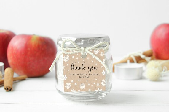 Snowflake Favor Tag Template, Bridal Shower, Baby Shower, Label, Sticker, Tag Corjl NEVE PPW300