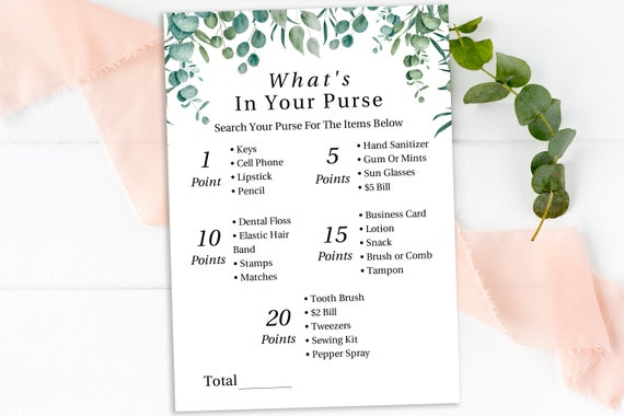 Greenery What's In Your Purse Game Template, Baby Shower Printable 100% Editable, Templett PPB0440