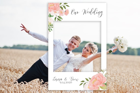 Editable Photo Prop Frame, Greenery Wedding Photo Booth Prop, Baby or Bridal Shower, Templett, 100% Editable, PDF PPW0230 PPB0230