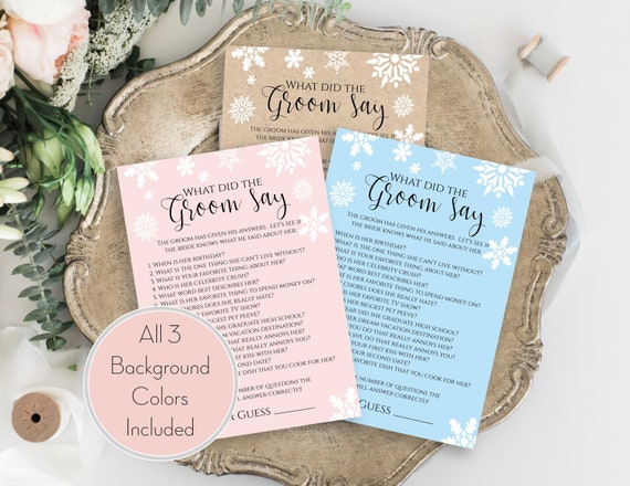 Snowflake Bridal Shower Game Template, What Did The Groom Say Game, Editable Printable, Personalize Corjl NEVE PPW300hat