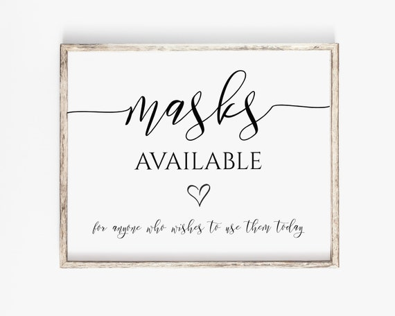 Elegant Masks Available Sign, Wedding Mask Sign, Please Take a Mask Printable, Editable Sign PPW550 GRACE