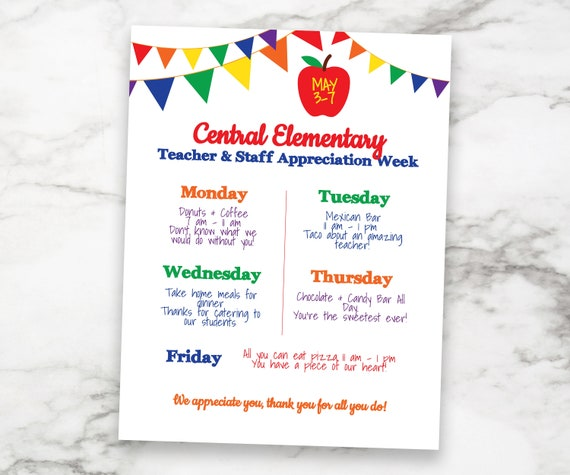 Teacher Appreciation Week Itinerary, Daily Schedule Events, Virtual, Printable, Personalized Editable Template TAW120